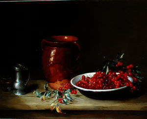 Antoine Vollon - Still life of cherries in a bowl