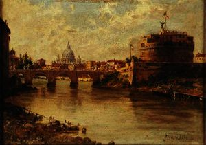 Antonietta Brandeis - Castel Sant-Angelo and St. Peter-s