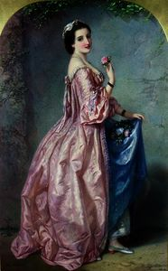 Augustus Jules Bouvier - Lady holding Flowers