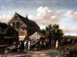 Barend Gael Or Gaal - Poultry Market by a Church