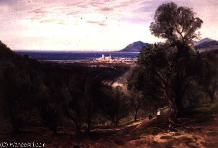 Cannes from Le Cannet by Bernard Walter Evans (1843-1922, United Kingdom) | Museum Art Reproductions Bernard Walter Evans | WahooArt.com