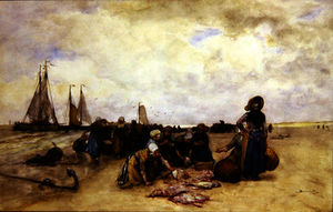 Bernardus Johannes (Bernard) Blommers - Fish Sale on the Beach