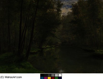Along the River Epte in Gasny by Cesar De Cock (1823-1904, Belgium) | Museum Quality Copies Cesar De Cock | WahooArt.com