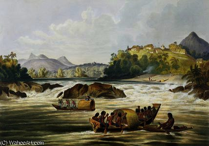 Brazilian Fort St. Gabriel on the Rio Negro by Charles Bentley (1805-1854, United Kingdom) | Painting Copy | WahooArt.com