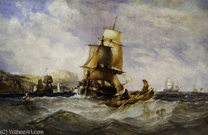 Shipping off scarborough by Charles Bentley (1805-1854, United Kingdom)