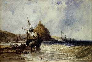 Charles Bentley - Unloading a Coaster Below St. Michael-s Mount