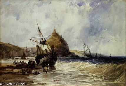 Unloading a Coaster Below St. Michael's Mount by Charles Bentley (1805-1854, United Kingdom)