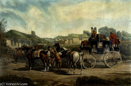 Changing Horses, from 'Fores Coaching by Charles Cooper Henderson (1803-1877, United Kingdom)