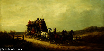 The London to Brighton Royal Mail on the Open Road by Charles Cooper Henderson (1803-1877, United Kingdom) | Museum Quality Reproductions | WahooArt.com