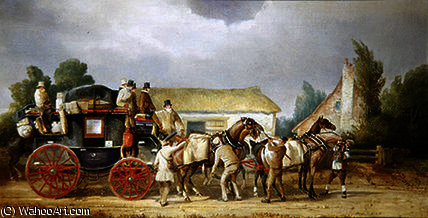 The royal mail changing teams by Charles Cooper Henderson (1803-1877, United Kingdom) | Famous Paintings Reproductions | WahooArt.com