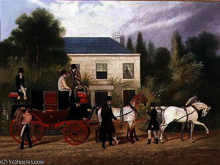 The Stage Coach Preparing to Depart by Charles Cooper Henderson (1803-1877, United Kingdom)