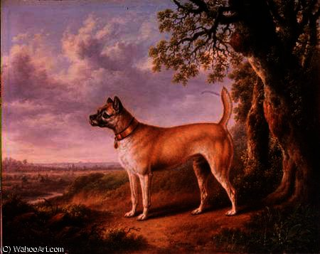 A Terrier on a path in a wooded landscape by Charles Towne (1763-1854, United Kingdom)