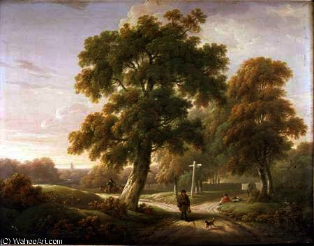 Travellers at a crossroads in wooded landscape by Charles Towne (1763-1854, United Kingdom)