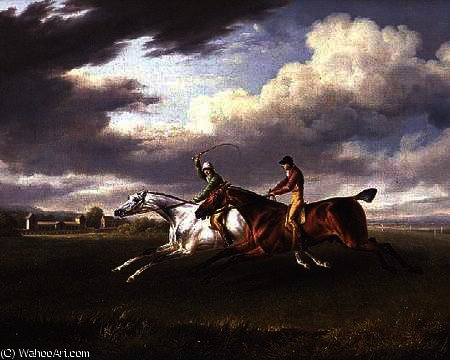 Two Racehorses with Jockeys up, Exercising in a Landscape by Charles Towne (1763-1854, United Kingdom)