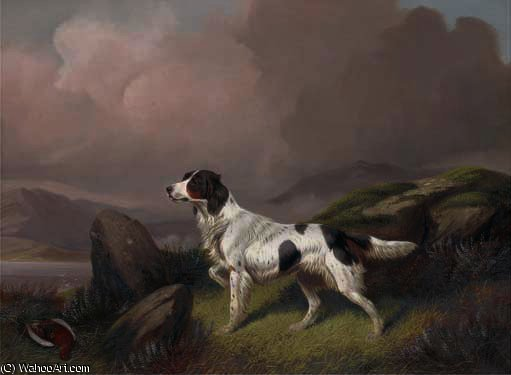 A setter in a moorland landscape by Colin Graeme Roe (1858-1910, United Kingdom)