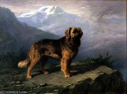 A Mastiff in an Alpine Landscape by Conradyn Cunaeus (1828-1895, Netherlands)