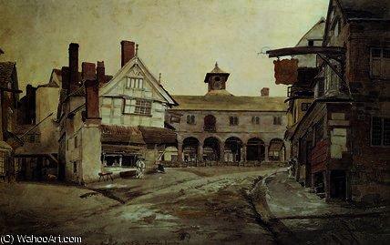 Market place, hereford,, 1803 by Cornelius Varley (1781-1873, United Kingdom) | Paintings Reproductions Cornelius Varley | WahooArt.com