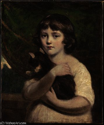 Order Museum Quality Copies | Portrait of a young girl with a cat by Daniel Gardner (1750-1805, United Kingdom) | WahooArt.com