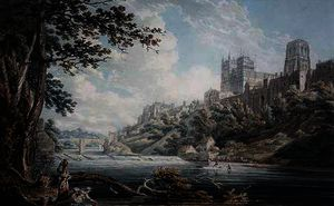 Order Famous Paintings Reproductions : Durham cathedral by Edward Dayes (1763-1804, United Kingdom) | WahooArt.com