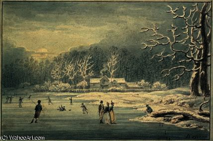 Hyde Park in the Snow,, 1796 by Edward Dayes (1763-1804, United Kingdom) | Oil Painting | WahooArt.com