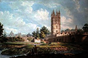 Edward Dayes - Magdalen College and Bridge, Oxford, from the River