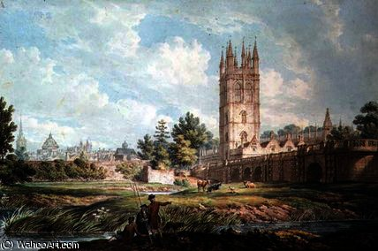 Magdalen College and Bridge, Oxford, from the River by Edward Dayes (1763-1804, United Kingdom) | Famous Paintings Reproductions | WahooArt.com