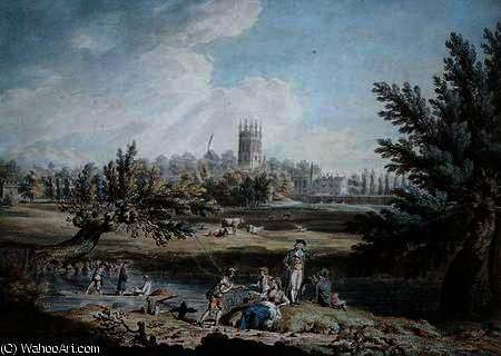Magdalen College, Oxford, View from Cherwell Looking North West by Edward Dayes (1763-1804, United Kingdom) | Museum Quality Reproductions | WahooArt.com