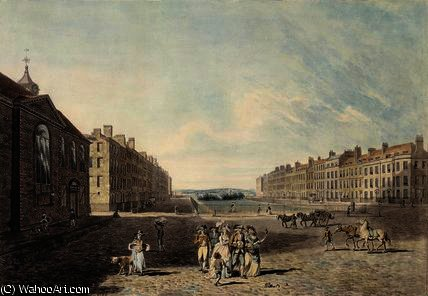 Queen square, london,, 1786 by Edward Dayes (1763-1804, United Kingdom) | Painting Copy | WahooArt.com