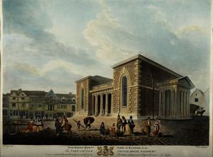 Order Oil Painting : View of the New Council House, Salisbury,, 1798 by Edward Dayes (1763-1804, United Kingdom) | WahooArt.com