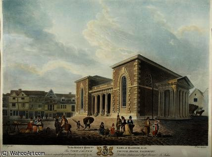 View of the New Council House, Salisbury,, 1798 by Edward Dayes (1763-1804, United Kingdom) | Oil Painting | WahooArt.com