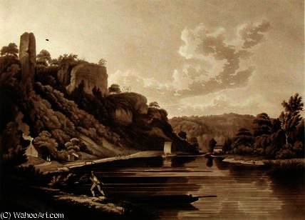 View of the New Weir on the River Wye by Edward Dayes (1763-1804, United Kingdom) | Museum Quality Reproductions | WahooArt.com