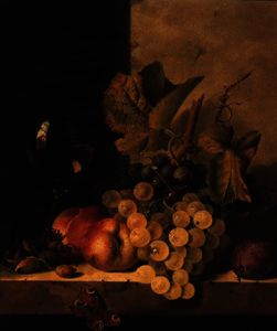 Edward Ladell - Grapes, Peaches and a Wine Glass on a Ledge
