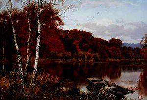 Edward Wilkins Waite - Now Autumn-s fire burns slowly along the woods