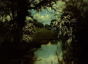 Edward Wilkins Waite - Where spreading hawthorns gaily bloom