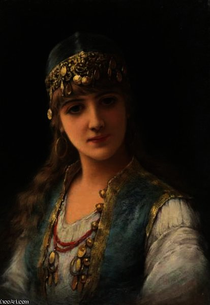 Harem beauty by Emile Eisman Semenowsky (1859-1911) | Famous Paintings Reproductions | WahooArt.com