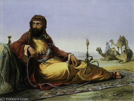 An Arab Resting in the Desert by Émile Prisse D'avennes (1807-1879, France) | Famous Paintings Reproductions | WahooArt.com