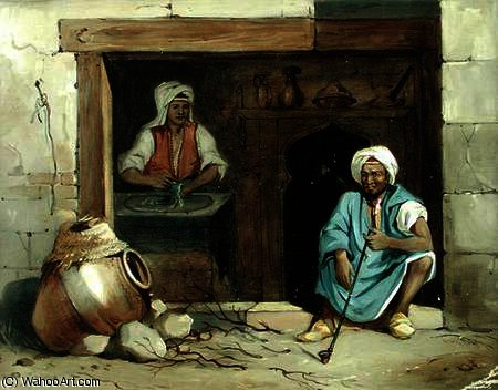 An egyptian woman making cadaifs by Émile Prisse D'avennes (1807-1879, France) | Oil Painting | WahooArt.com