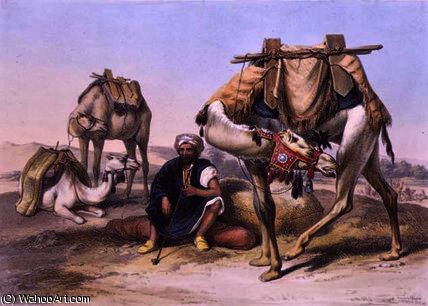 Camels Resting in the Sherkiyeh by Émile Prisse D'avennes (1807-1879, France) | Museum Art Reproductions Émile Prisse D'avennes | WahooArt.com