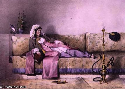 Egyptian Woman in a Harem in Cairo by Émile Prisse D'avennes (1807-1879, France) | Oil Painting | WahooArt.com