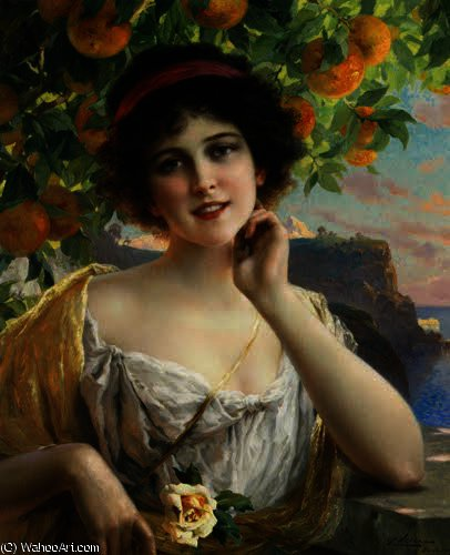 Beauty Under the Orange Tree by Emile Vernon (1872-1920, France) | Art Reproduction | WahooArt.com