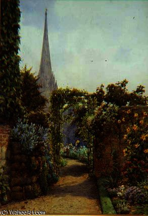 A salisbury garden by Ernest Arthur Rowe (1863-1922, United Kingdom) | Famous Paintings Reproductions | WahooArt.com