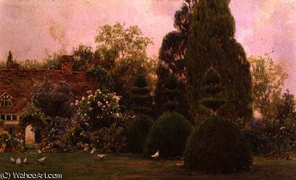 Order Art Reproduction : Chickens in a garden by Ernest Arthur Rowe (1863-1922, United Kingdom) | WahooArt.com