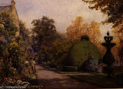 The yew walk by Ernest Arthur Rowe (1863-1922, United Kingdom)