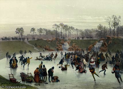 Skaters on the Lake by Eugene Charles Francois Guerard (1821-1866, France) | Reproductions Eugene Charles Francois Guerard | WahooArt.com