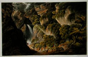 Frederick Calvert - Waterfall at Shanklin, from -The Isle of Wight Illustrated, in a Series of Coloured Views-, engraved