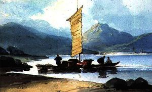 George Chinnery - Boat with Yellow Sail, China
