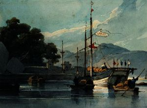 George Chinnery - Shipping on a Chinese River