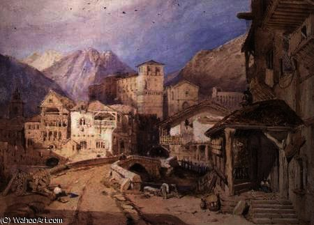 Village in the Tyrol by George Clarkson Stanfield (1793-1867, United Kingdom)