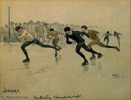 Ice skating by George Derville Rowlandson (1861-1928, United Kingdom) | Museum Quality Copies George Derville Rowlandson | WahooArt.com