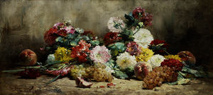 Georges Jeannin - Carnations, Roses, Grapes and Peaches